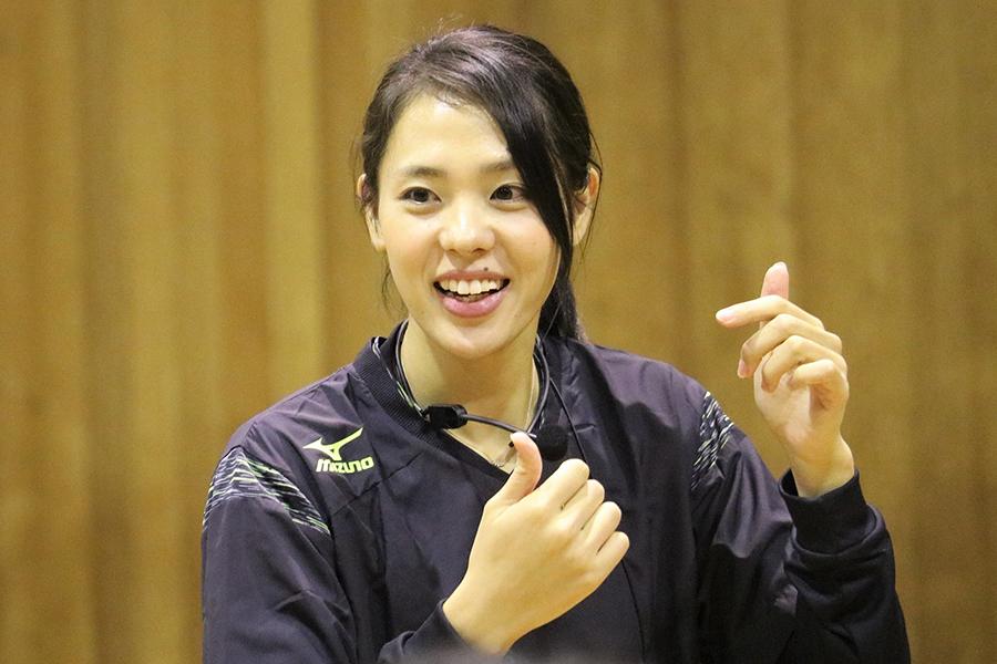 元女子バレーボール日本代表の迫田さおりさん【写真:編集部】
