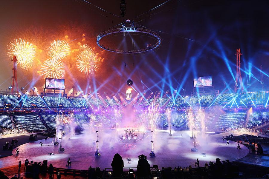 平昌五輪の開会式ではさまざまな華やかな演出が施された【写真:Getty Images】