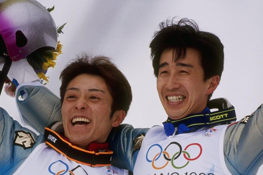 1998年長野大会の船木和喜、原田雅彦【写真:Getty Images】