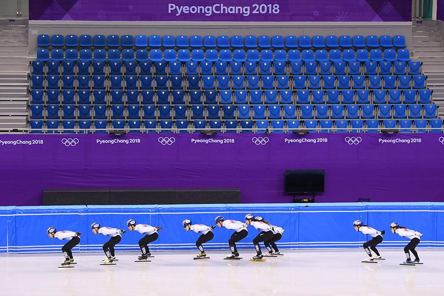 大会に向け練習するショートトラック韓国代表【写真:Getty Images】