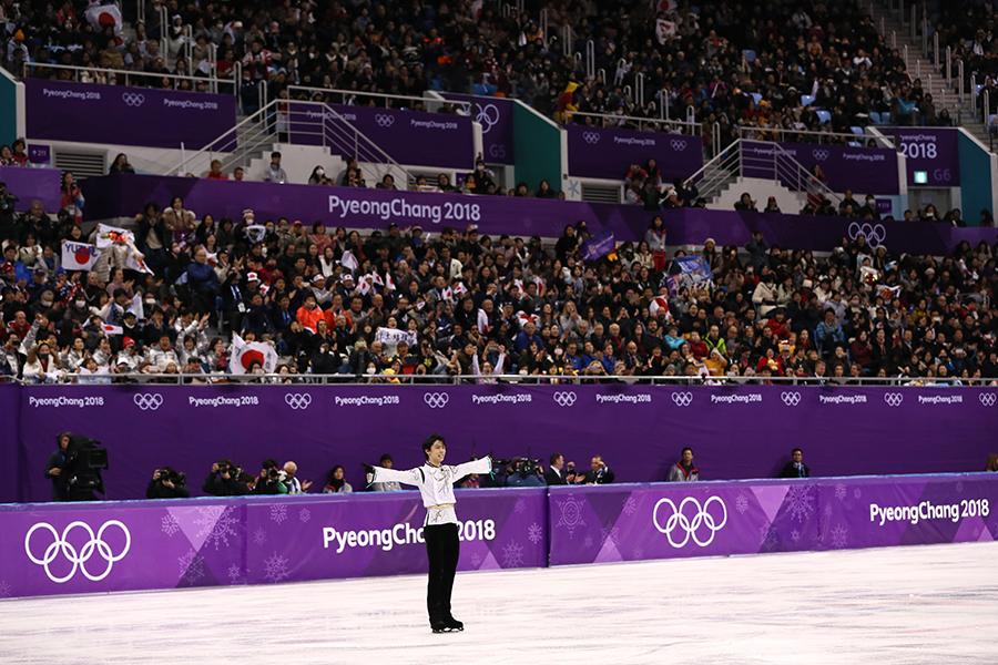 66年ぶりの五輪連覇、そして、冬季五輪史上1000個目の金メダルを獲得した羽生結弦【写真:Getty Images】