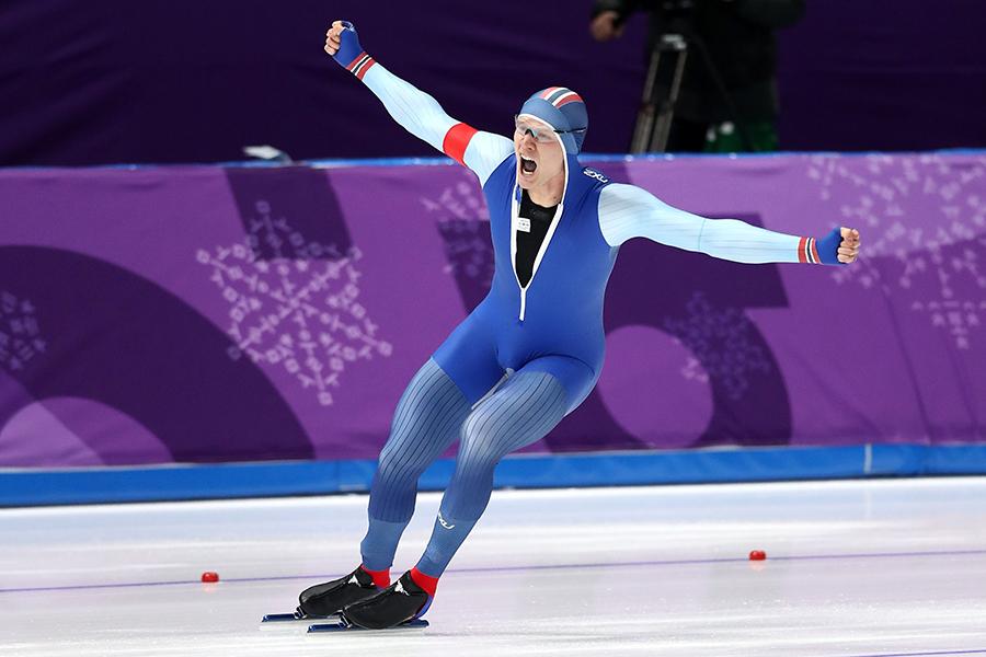 スピードスケート男子500mで金メダルを獲得したロレンツェン(ノルウェー)【写真:Getty Images】