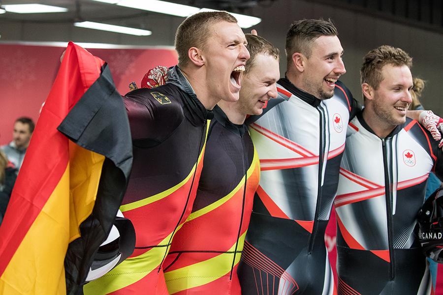 ボブスレー男子2人乗りはドイツとカナダが同タイムで2か国が金メダルに輝いた【写真:Getty Images】
