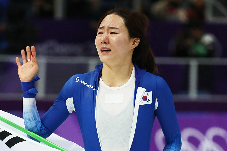 スピードスケート女子500メートルで銀メダルを獲得したイ・サンファ【写真:Getty Images】
