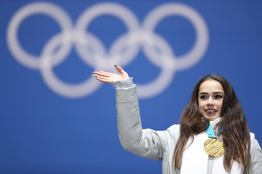 フィギュアスケート女子シングルで金メダルに輝いたアリーナ・ザギトワ【写真:Getty Images】
