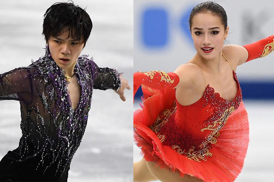宇野昌磨(左)とアリーナ・ザギトワ【写真:Getty Images】