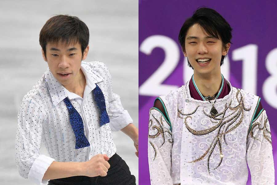 織田信成さん(左)が羽生結弦との2ショットを公開した【写真:Getty Images】