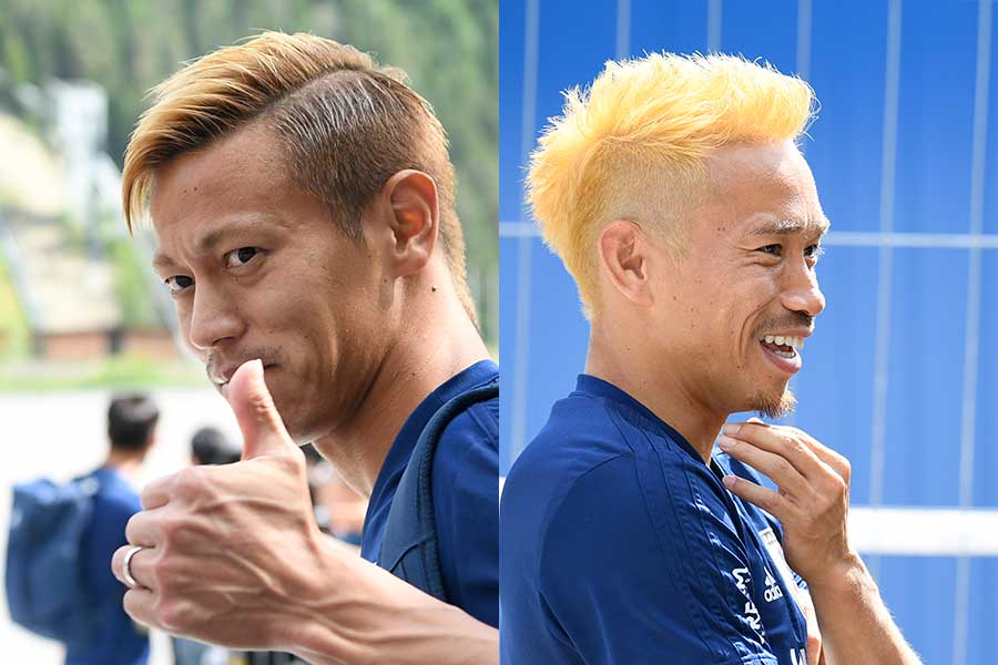 本田圭佑(左)と長友佑都【写真:Getty Images】