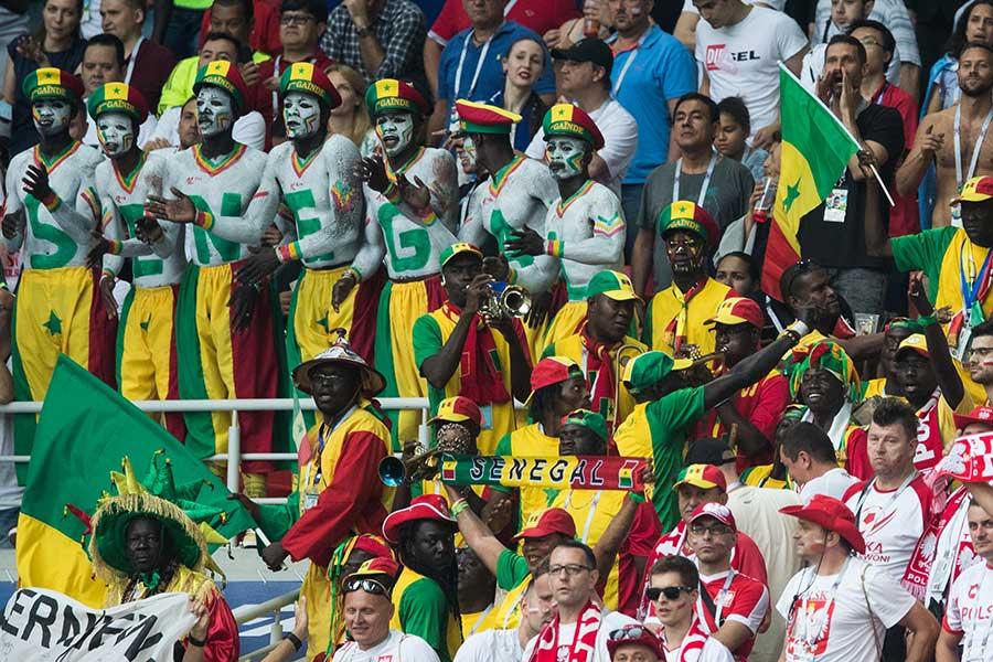 セネガル対ポーランドを観戦するサポーター達【写真:Getty Images】