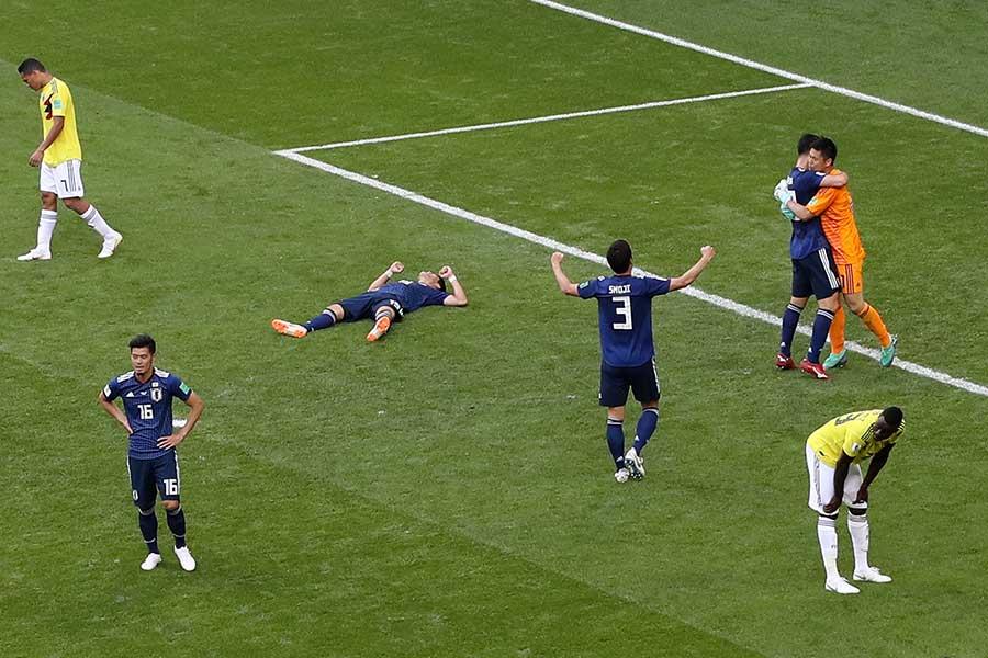 コロンビアを破る番狂わせを演じた日本代表【写真:Getty Images】