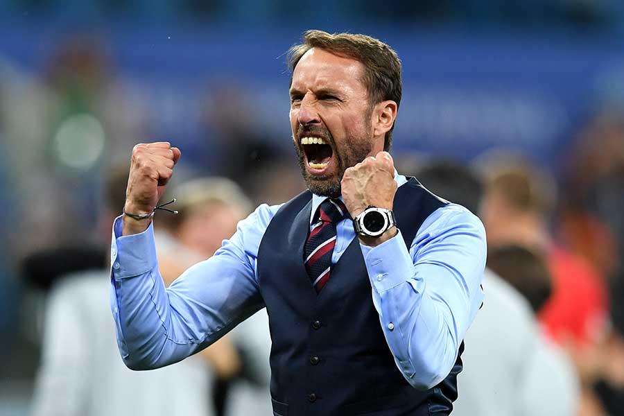 チュニジア戦勝利を祝うイングランドのガレス・サウスゲート監督【写真:Getty Images】