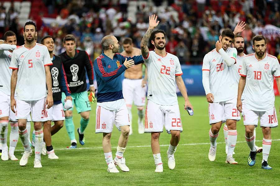 勝ち点3を手にしたスペイン【写真:Getty Images】