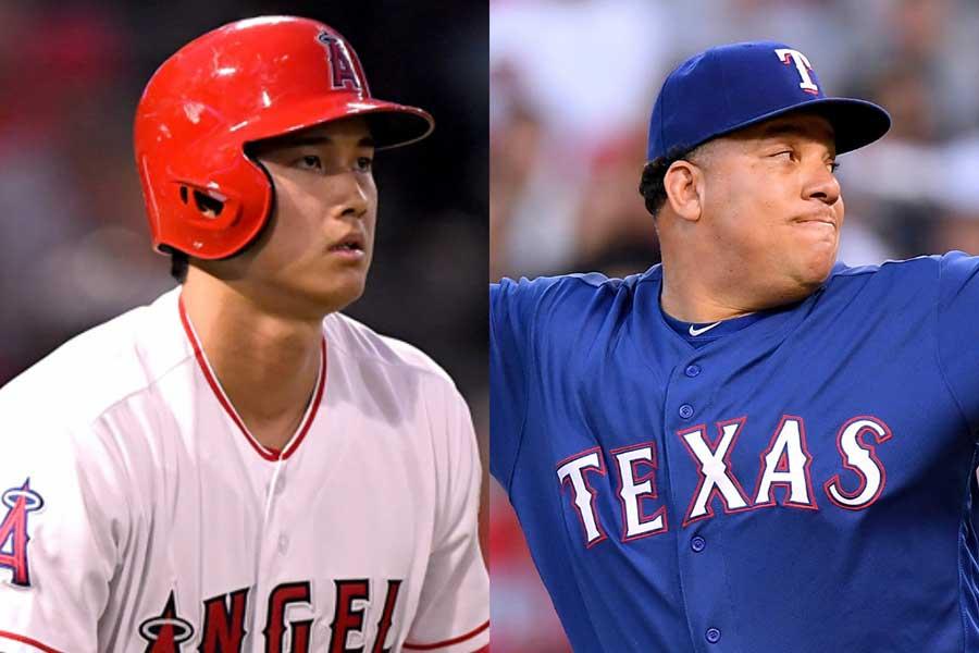 大谷翔平(左)はコロンから二塁打を放った【写真:Getty Images】