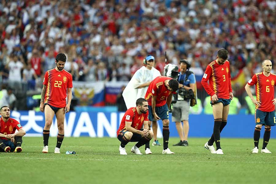 16強でまさかの敗退を喫したスペイン代表【写真:Getty Images】
