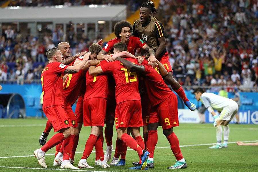 ロスタイムに逆転ゴールを決め喜ぶベルギー代表【写真:Getty Images】