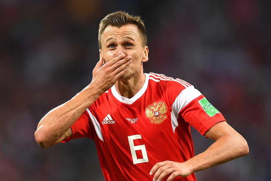 クロアチア戦でゴールを決めたロシア代表デニス・チェリシェフ【写真:Getty Images】