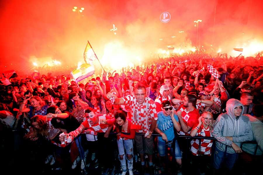 イングランドとの試合中のザグレブの様子【写真:AP】
