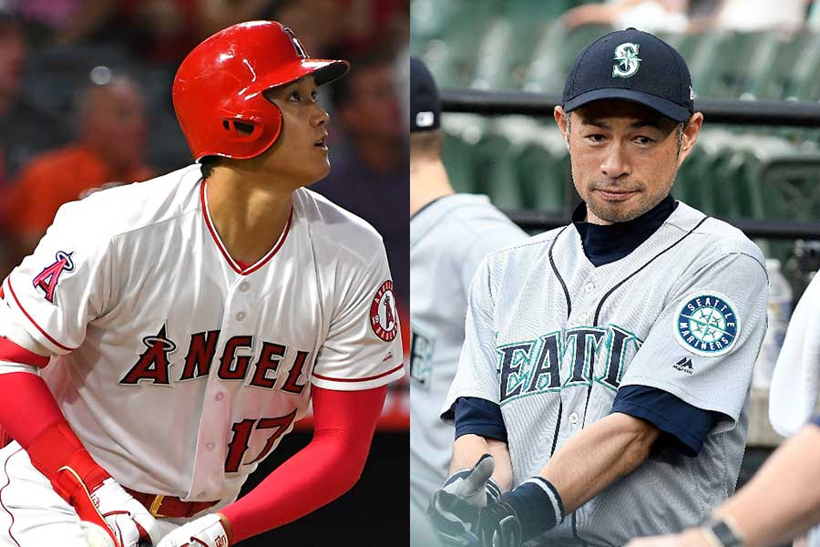 MLB公式が大谷(左)とイチローの2ショットを公開【写真:Getty Images】