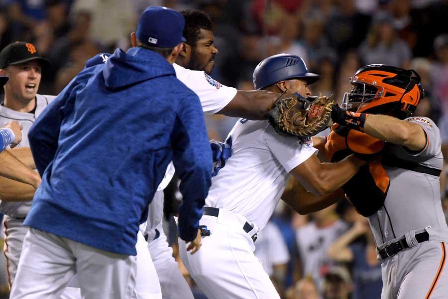 米大リーグで乱闘騒ぎが起こった【写真:Getty Images】