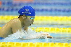 女子400メートル個人メドレーを制した小嶋美紅(3年=近大付)【写真:荒川祐史】