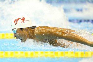 男子400メートル個人メドレーを制した松本周也(3年=伊東)【写真:荒川祐史】
