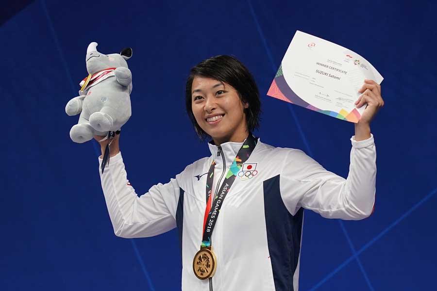 アジア大会の女子100メートル平泳ぎで鈴木聡美が初優勝した【写真:Getty Images】