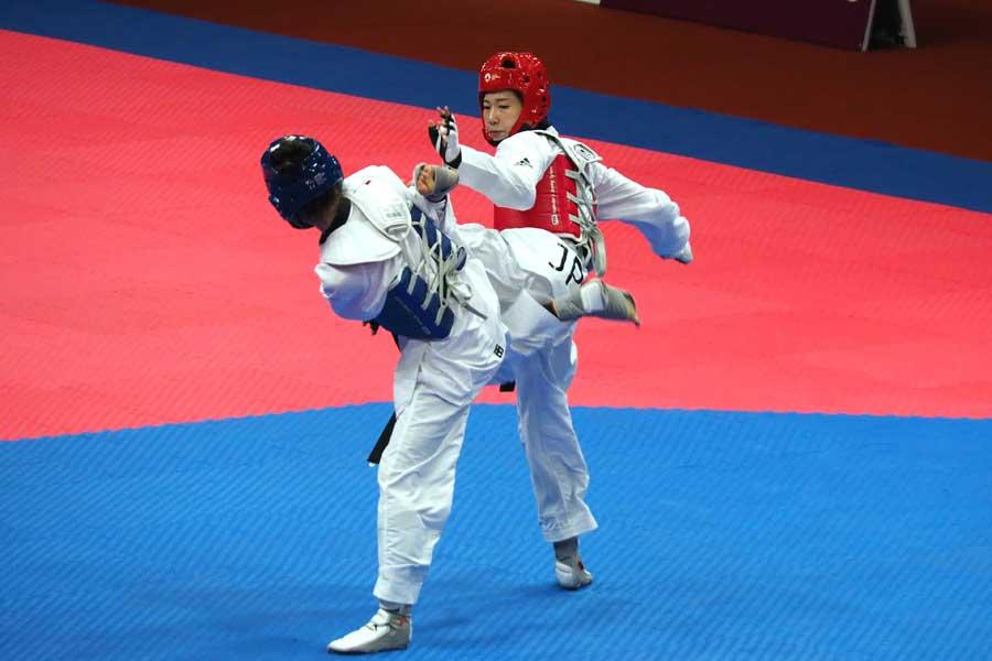 韓国発祥のテコンドーは速さと迫力を備えた競技だ【写真:平野貴也】