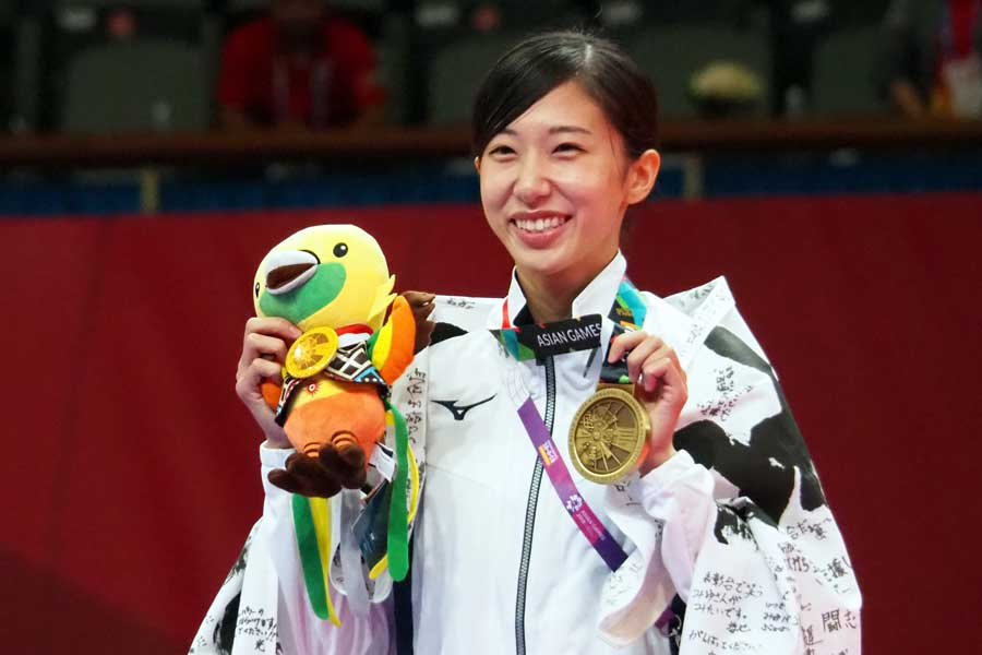 女子49キロ級の山田美諭は自身初のメダルを獲得した【写真:平野貴也】