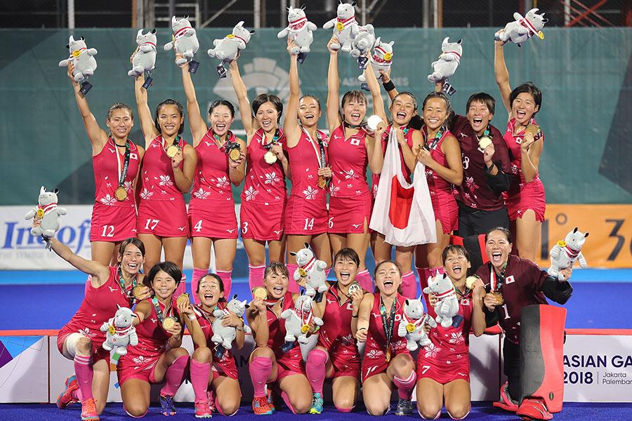 ホッケー女子決勝インドを2-1で下し、初優勝を達成したさくらジャパン【写真:Getty Images】