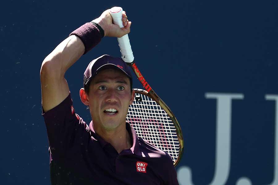 全米オープンで8強進出を果たした錦織圭【写真:Getty Images】