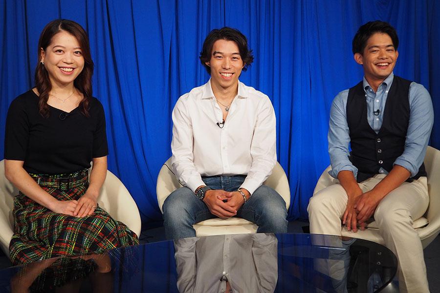 「フィギペディア~グランプリシリーズ直前SP~」で座談会を実施した鈴木明子さん、無良崇人さん、小塚崇彦さん(左から)