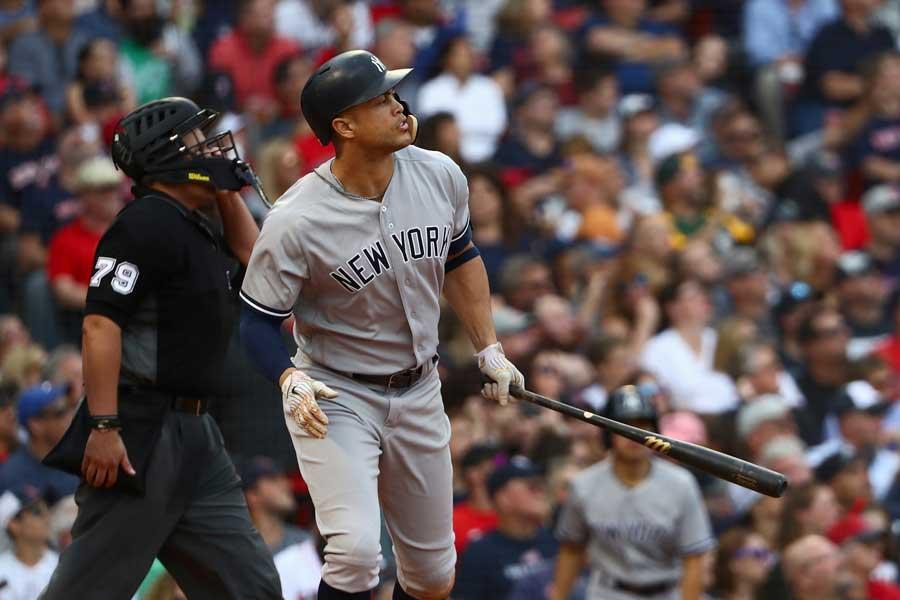 珍事に巻き込まれたヤンキースのジャンカルロ・スタントン【写真:Getty Images】