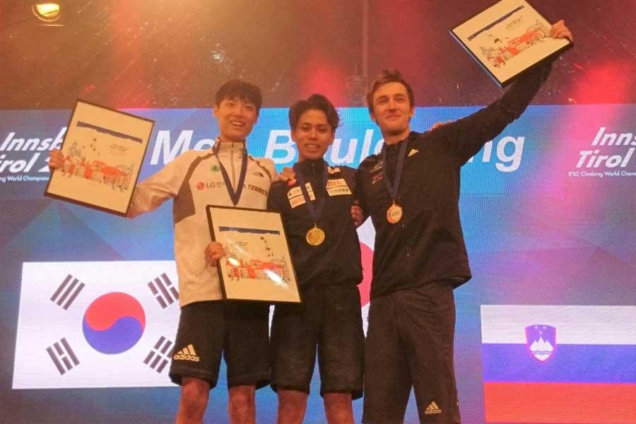 スポーツクライミングの世界選手権で原田海が優勝を飾った【写真提供=JMSCA】