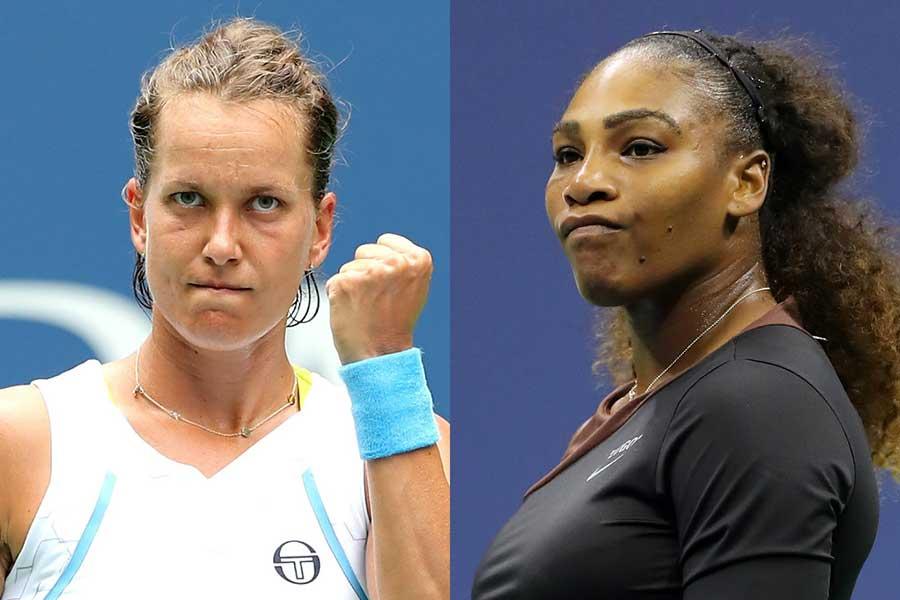 ストリコバ(左)がセリーナ・ウィリアムズのふるまいを批判している【写真:Getty Images】
