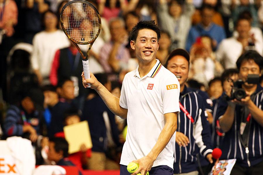 楽天ジャパン・オープンで3年ぶり5度目のベスト8進出を決めた錦織圭【写真:Getty Images】