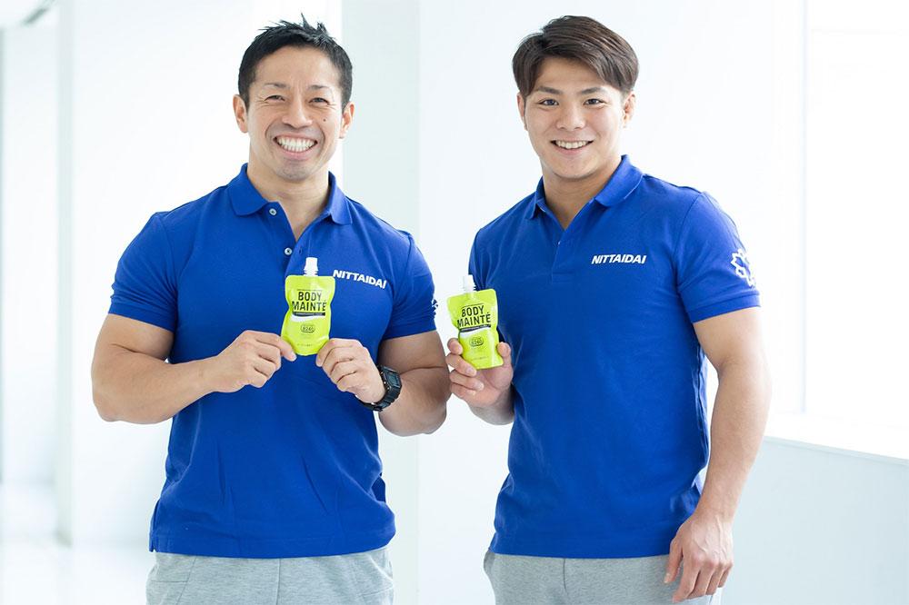 練習後はボディメンテを欠かさず摂っていると語った阿部一二三選手(右)と岡田隆氏