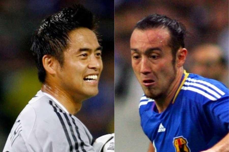 引退を発表した川口(左)に憧れて日本国籍取得を決意したという闘莉王【写真:Getty Images】