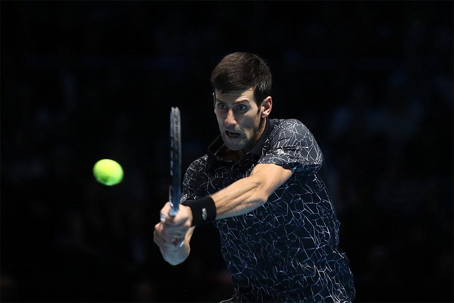 「Nitto ATPファイナルズ」、1次リーグ第3戦で勝利を飾ったノバク・ジョコビッチ【写真:Getty Images】