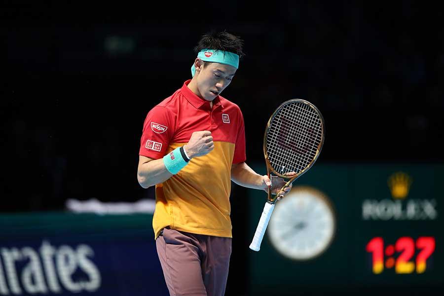 「Nitto ATPファイナルズ」に出場した錦織【写真:Getty Images】