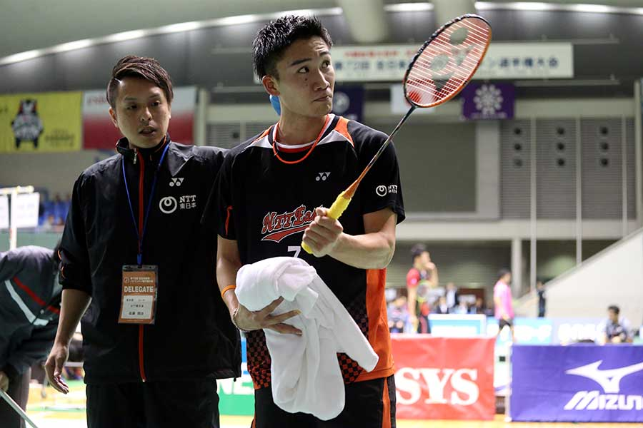 桃田賢斗はストレート勝ちで2回戦に進んだ【写真:平野貴也】