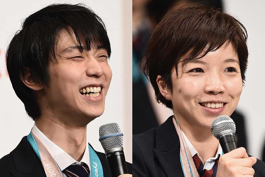平昌五輪金メダルの羽生結弦(左)と小平奈緒【写真:Getty Images】