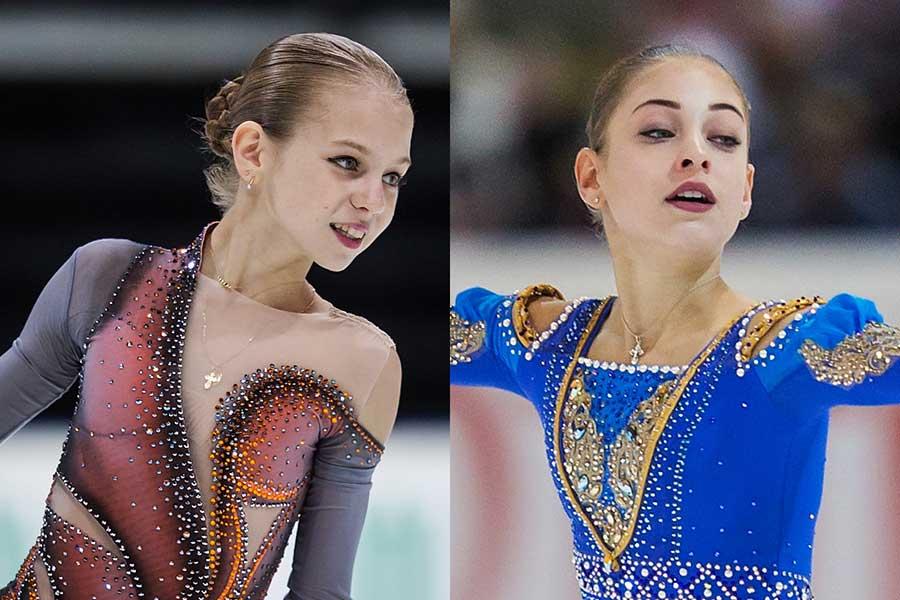 ジュニアGPファイナルで優勝を争うトルソワ(左)とコストルナヤ【写真:Getty Images】