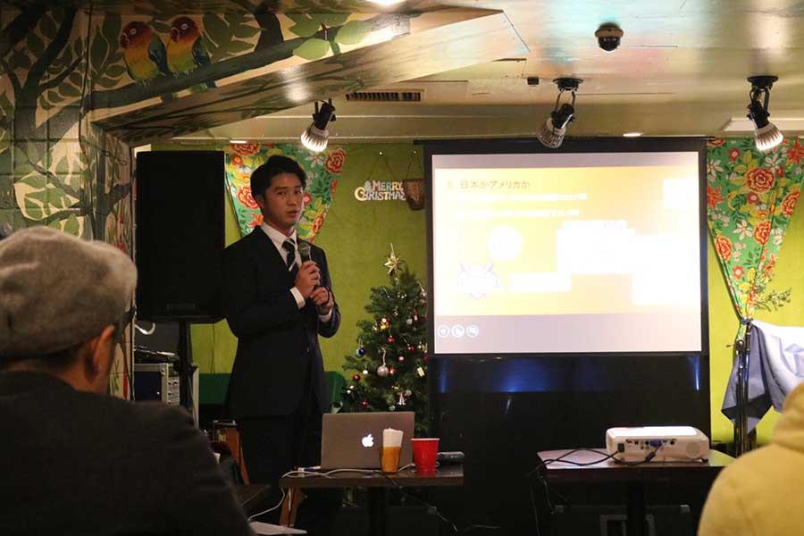 クラウドファンディングの支援者向け報告会を開催した谷田成吾さん【写真:編集部】