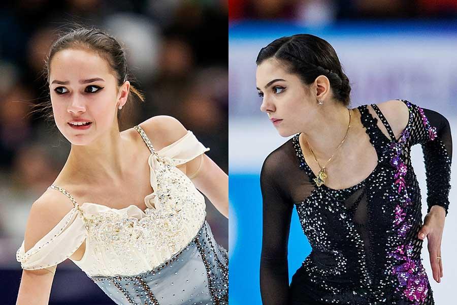 ロシア選手権のSPで明暗が分かれたザギトワ(左)とメドベージェワ【写真:Getty Images】