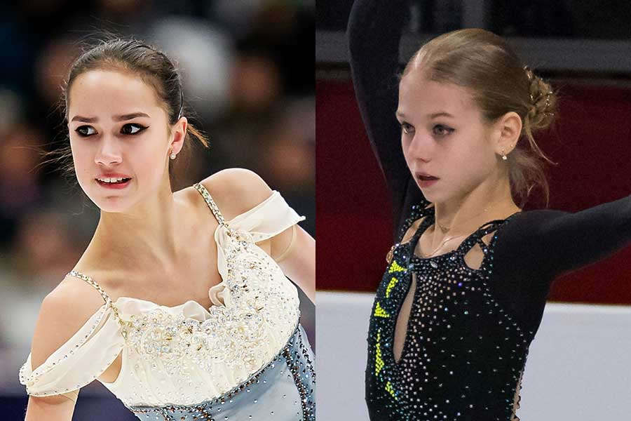 ロシア選手権のSPで首位のザギトワ(左)と2位のトルソワ【写真:Getty Images】