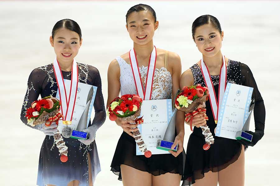 全日本選手権で表彰台に入った(左から)紀平、坂本、宮原【写真:Getty Images】