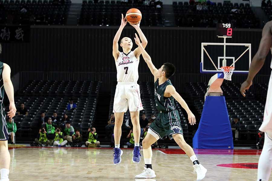 桜丘のシューター富永は39得点の活躍を見せた【写真:平野貴也】