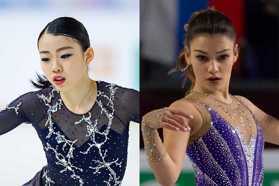 紀平梨花(左)とサモドゥロワ【写真:Getty Images】