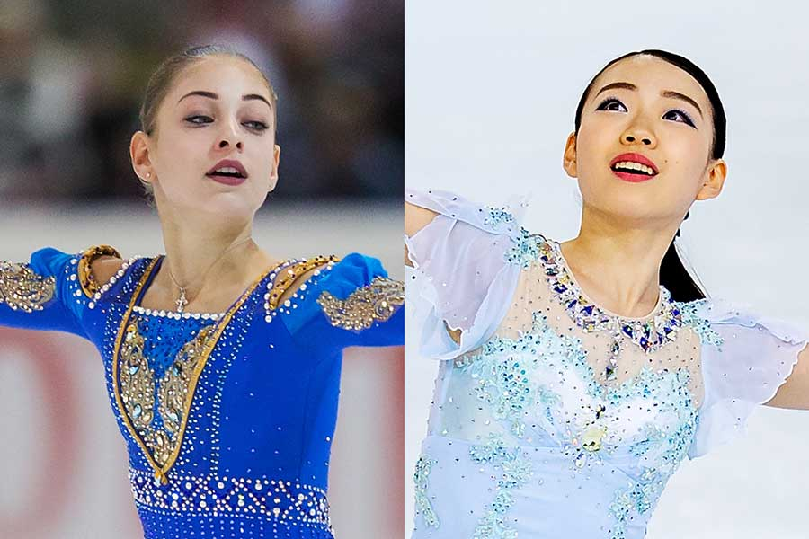 コストルナヤ(左)が紀平への憧れを明かした【写真:Getty Images】