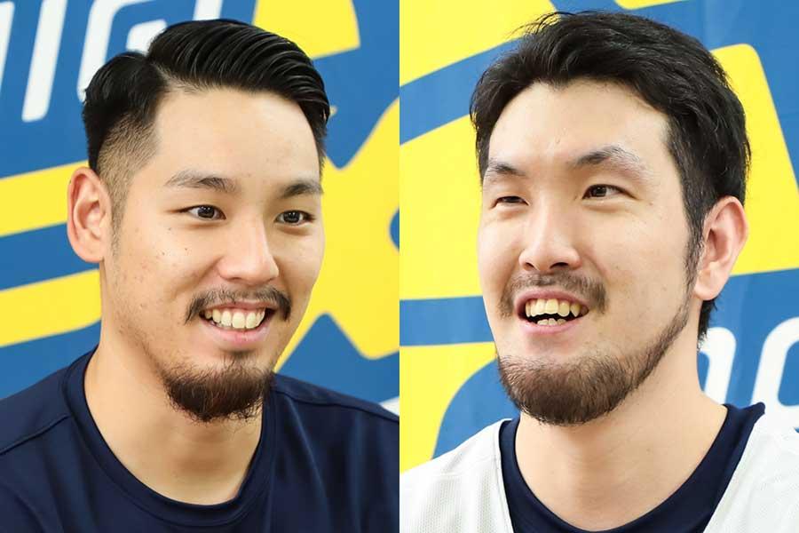 「今季はシーズン前からしっかりチーム作りに取り組めた」と話す遠藤祐亮(左)と今年3年目を迎える橋本晃佑(右)